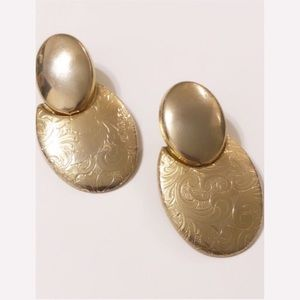 VTG 80's Etched Oval Geo Drop Gold Earrings Chic